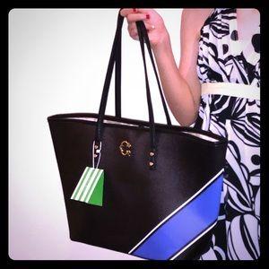 Large striped tote bag NWT